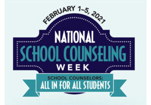 American School Counselor Association's National School Counseling Week logo in dark and light blue