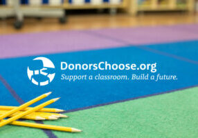 Pencils with the DonorsChoose.org logo in the center.